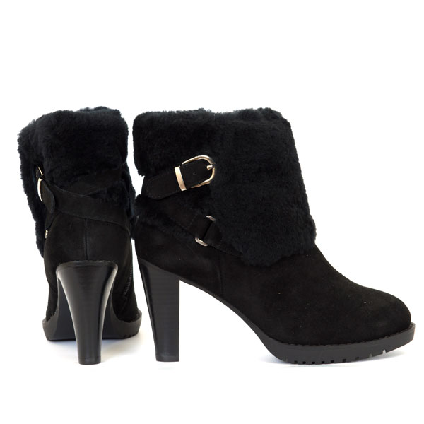 mubo ugg sheepskin high heel boots black downunder mart