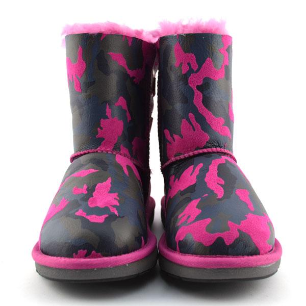 Mubo Ugg Ribbony Sheepskin Boots Pink Camouflage