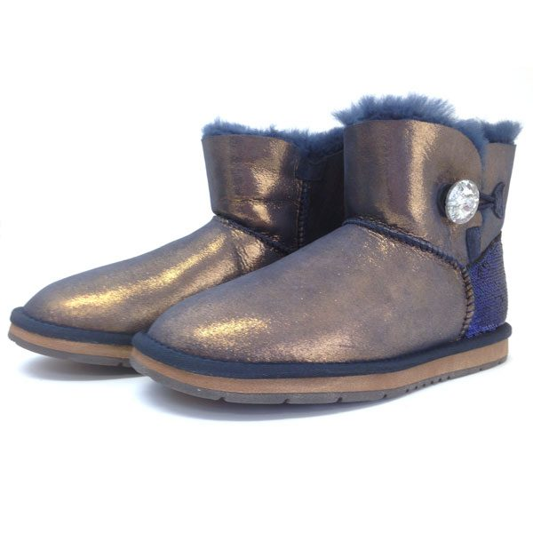 d3ccef5904b One Crystal Button Ankle UGG Boots Navy